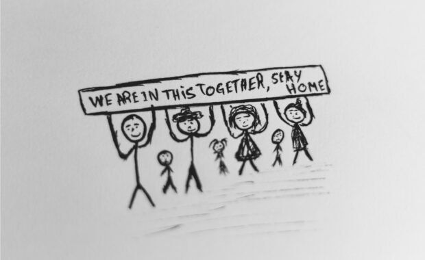 Drawing Stay Home - Dhaya Eddine Bentaleb - Corona ups & downs - HJTC blog